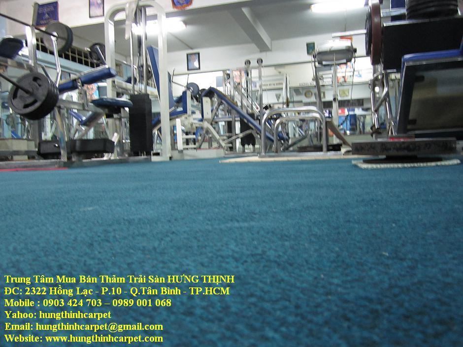 Thi công thảm trải sàn CLB phòng tập tạ, thể hình, tại TTVH Quận.Phú Nhuận