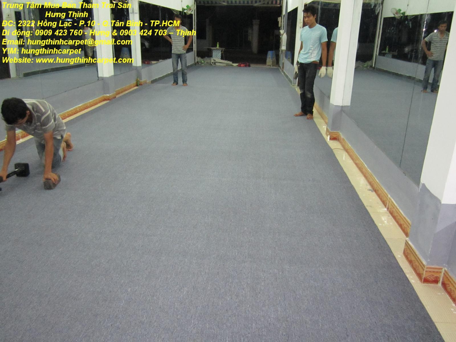 Thi công thảm trải sàn cho CLB thể hình, tập tạ Nam tại Q.9 tp.HCM